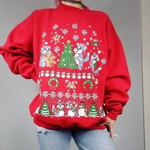VTG Christmas kitty sweatshirt